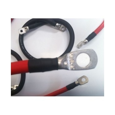 Câble pro 10 mm² noir ou rouge serti, à oeillets