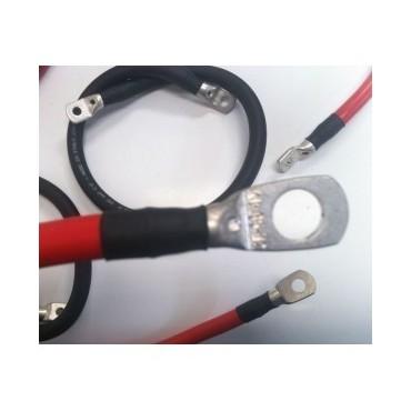 Câble pro 6mm² noir ou rouge serti, à oeillets