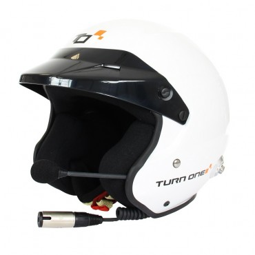Casque FIA Jet TURN ONE Jet-RS Intercom STILO Trophy BLANC SNELL SA2015