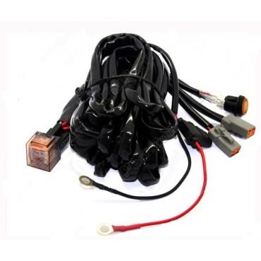 Double câble relais - Faisceau électrique - Barre / phare LED 2 Prises Mâle DT